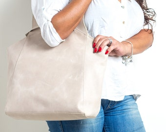 cream white leather bag - cream white tote bag - leather tote bag - leather tote handbag - shoulder tote - womens totes - JOY MS7051