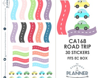 CA168 | Color Road Trip Sticker | 30 Kiss-Cut Stickers | Road Trip, Vacation, Day Trip