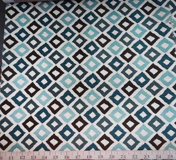 Artistic Geometric Pattern Fabric in Teal Blue / Brown / Beige