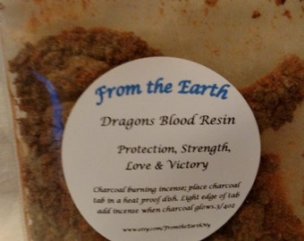 Dragon's Blood Resin- Natural resin, Charcoal burning, Banishing, Protection, Cleansing, Spiritual, Ritual work, Courage,Exorcism .75oz bag