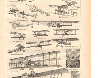 """""""Vintage""""sepia""""Aviation art 1930's French dictionary / Digital download"""