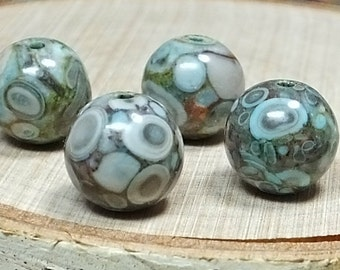 Amazing  Fossil Crinoid Beads, 10mm, Four
