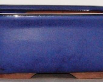 "Bonsai Pot 7.75"" Rectangle Glazed Blue (FREE SHIPPING)"