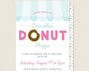 Donut Party Invitation - Doughnut Shop Birthday Party Invite - Bakery Shoppe Birthday - Sophisticute Paperie