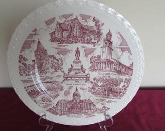 "Vernon Kilns Plate: Historical Atlanta Scenes Made for Rich's Daprartment Store 10"" Red transfer"