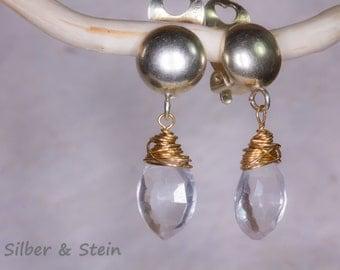 faceted rock crystal earrings