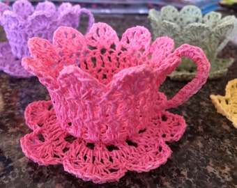 Pastel Crochet Tea Cup Set