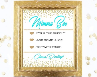 Bridal Shower Game Sign - Mimosa Bubbly Bar Sign - TEAL and GOLD - Instant Printable Digital Download - Birthday Party Printable