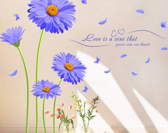 Vinyl Wall Sticker Decal with Purple Flowers, Love quote For Bedroom and Living room, Home Decor DIY