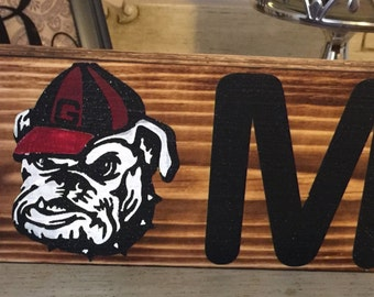 Ready to Ship! University of Georgia charred painted UGA Bulldogs wood sign