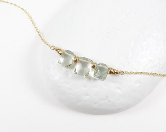 Light Mint Green Gemstone Necklace / Prasiolite Gemstone Necklace/ Gemstone Necklace/ 14K Gold Filled Chain/FREE SHIPPING/ Ng15