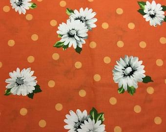Daisy and polka dot on orange cotton fabric 1 yard. Retro print