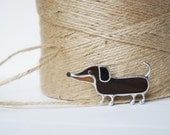 Long Dachshund Brooch, Glass Jewelry, Tiffany Technique, Brown Glass Dog, Best Gift for Her