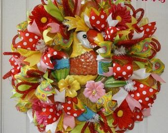 SALE (139)Deco Mesh Springtime Wreath, Parrot-dise Wreath, Home Decor, Front Door Decor, Door Wreath, Deco Mesh Summertime Wreath
