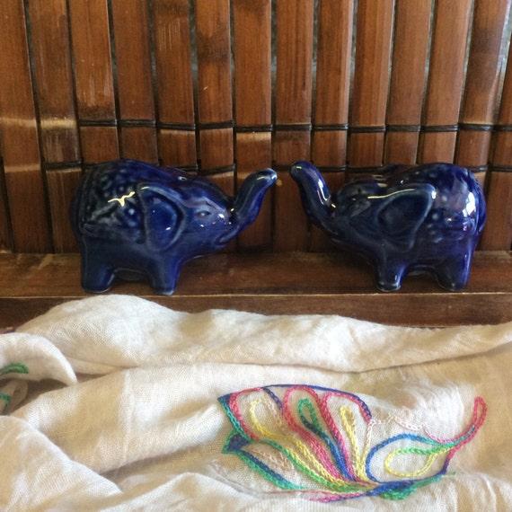 Good Luck Salt Shakers Elephant Shakersblue Ceramic Shakers