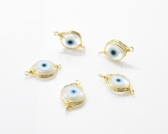 Clear Evil Eye Glass Connector,  Glass Charm . Evil Eye Charm . Gemstone Connector . 16K Polished Gold over Brass - 2pcs / NB0010-PGCR