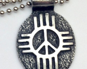 Zia Sun Peace Sign Pendant, Peace Sign Necklace, Peace Sign Jewelry