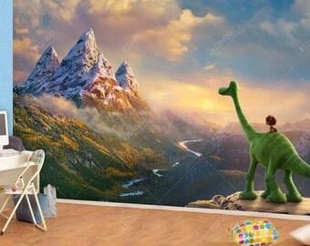 The Good Dinosaur Wall mural, Vinyl Mural, Wallpaper, Wall décor, Nursery and room décor, Wall art, Canvas print