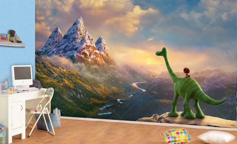 Pleasing 50 dinosaur wall mural design decoration of for Dinosaur land wall mural
