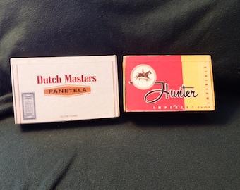2 VINTAGE CIGAR BOXES, Dutch Masters and Panetela cigar box, Hunter cigar box