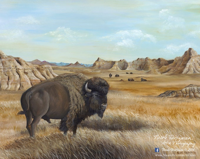 Roaming the Badlands Buffalo Painting Father's Day gift Buffalo Print Buffalo Art Buffalo Decor Gift for men Acrylic Painting Canvas print