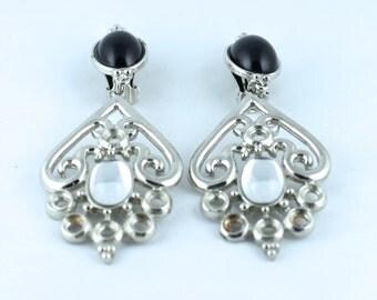 Vintage Silver & Black Chandelier Clip-On Earrings