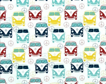 Love Bus Fabric - Premier Navy (Road Trip Tula) - sold by the 1/2 yard
