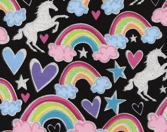 Glitter Unicorns (Dear Diary) Fabric - sold by the 1/2 yard