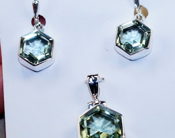 Green Amethyst  & 925 Sterling Silver  Earrings and Pendant Set