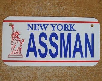 Metal mini license plate ASSMAN metal sign New York proctology proctologist Seinfeld wall decor man cave