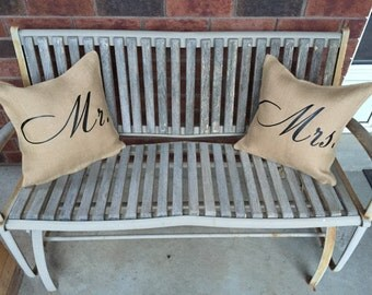 Mr. & Mrs. (Mr) Burlap Pillow Cover