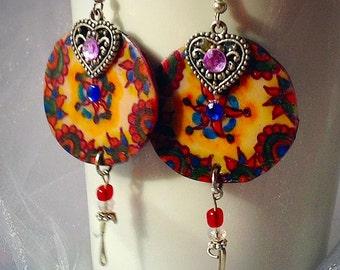 Exotic handpainted earrings