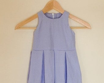 Girls' blue gingham pleated dress