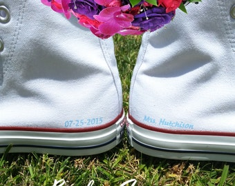 Custom Wedding Converse Shoes Hi White - Personalized Bride Groom Wedding Shoes - Bridal Shoes - Mr and Mrs Shoes - by Bandana Fever