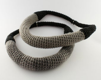 Crochet dark gray necklace, Statement jewellery, Groovy, Yarn necklace,