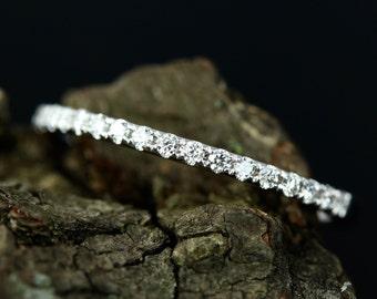 0.15 Carats Diamond 14k White Gold Half Diamond Eternity Matching Wedding Band Promise Ring (Bridal Wedding Set Available)