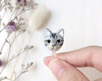 Cat phone plug, dust plug, phone accessories, phone decoration, polymer clay cat, cat sculpture, cat lover gifts