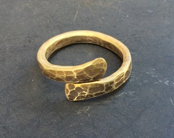 Twisted brass ring. Wrap around brass ring. Adjustable