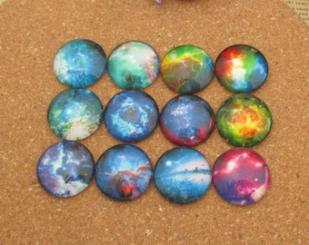 12pcs Round Glass Cabochons,Galaxy Starry Sky Photos,Clear Photo Glass,Custom Size 12mm,14mm,16mm,18mm,20mm,25mm,30mm-br023