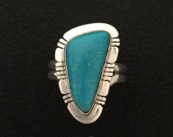 Native American Navajo Kingman Turquoise  Sterling Silver Ring Size 8
