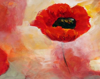 Wall Art Flower Painting Print, Poppy Art Print, Romantic Art, Abstract Wall Art, Canvas Art Red Wall Art, Art on Canvas, Wall Art Canvas