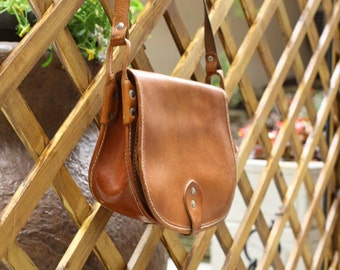 Vintage Leather Crossbody Bags , Brown Leather Messenger bag