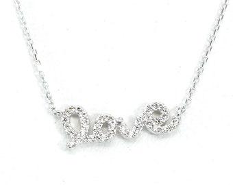 LOVE Pendant Silver Necklace