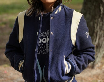 Vintage Wool High School College Jacket Navy Blue Women's Size Small