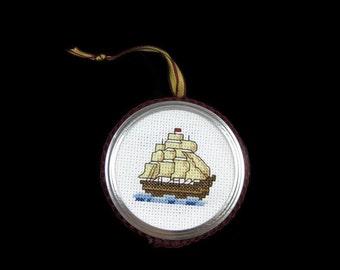 Cross Stitch  Boat Ornament