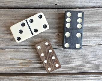 Vintage Domino Magnets, Set of 3 Assorted Domino Refrigerator Magnets, Game Lover Gift
