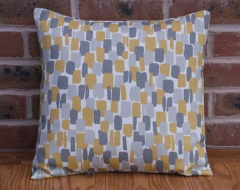 "Yellow and Grey Abstract Paint Effect Modern Decorative Pillow Cushion Cover 16"" / 40cm"