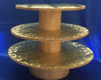 GOLD CUPCAKE STAND 3 Tiers Featuring Gold Rhinestones & 12 Floral Foil Colors