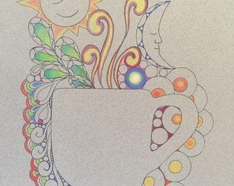 Zentangle coffee art,coffee art,mug art,zentangle art,colored zentangle ,wall art,wall decor,ink colored pencils,colored paper