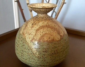 Studio Art Pottery Weed Vase, Speckled Blue-Green-Beige, Signed and Dated 1983